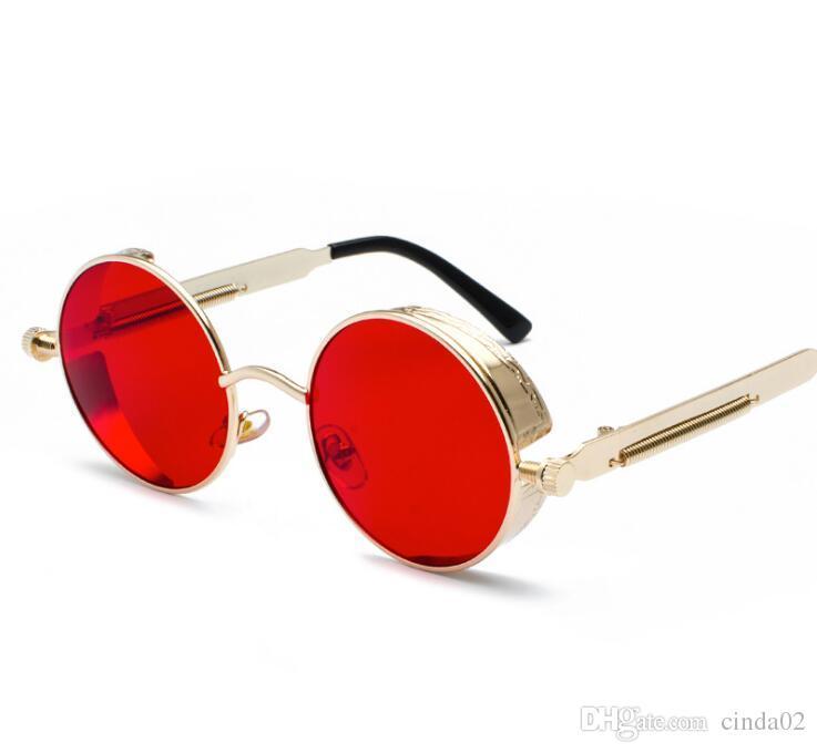 Óculos de sol de metal redondo steampunk homens mulheres moda óculos de marca designer de retro vintage óculos de sol uv400