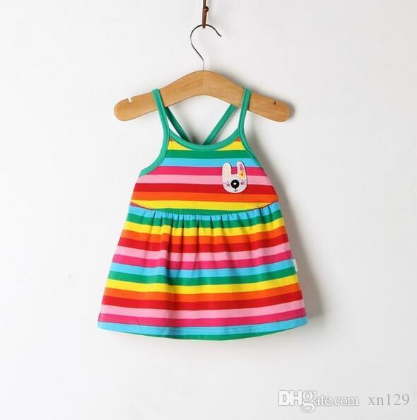 2018 Meninas de Verão de Algodão Bonito Novo Bebê Listrado Sling Vestido Meninas Roupas Deslizamento Vestidos Infantis Para a Princesa de Aniversário Venda Quente