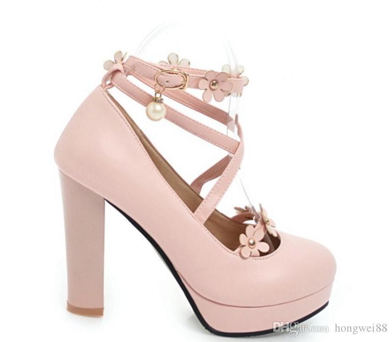 Free send Hot Coarse heel high heels waterproof platform Princess single shoes round head women shoes