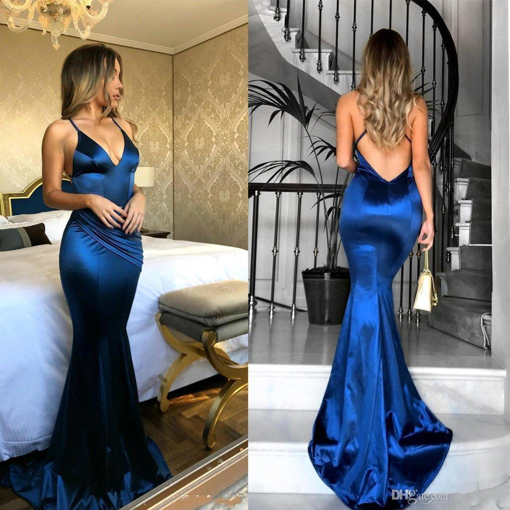 Abendkleid 2018 Sexy Deep V-Neck Mermaid Evening Dresses Long Royal Blue Backless Sweep Train Elastic Satin Formal Gowns Robe Longue Soiree