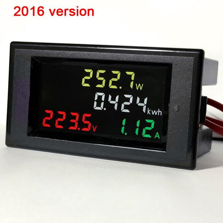 Freeshipping AC200v-450v 100a Цветной ЖК-измеритель электроэнергии цифровой вольтметр амперметр AC 220 В 230 В 240 В 380 В Напряжение тока