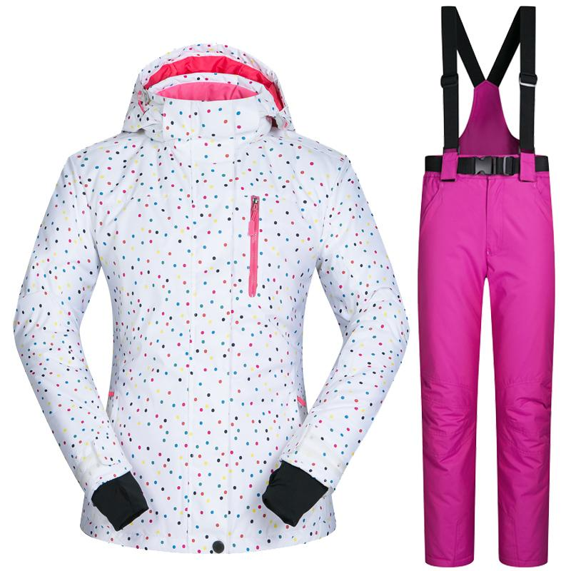 Outdoor Sports Women Ski Jacket and Pants Suit Set Windproof Waterproof Winter Sports Jacket Trousers Snowboard Mountain Clothing