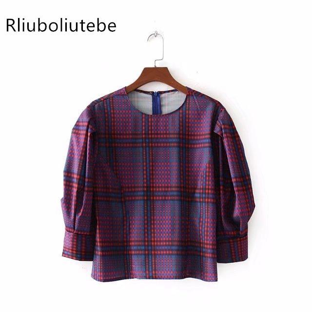 Kadınlar Uzun Puf Kollu Kontrol Üst Vintage Ekose Bluz Kontrast 2018 Bahar Yaz Bluz Gevşek O-Boyun ofis Gömlek Moda