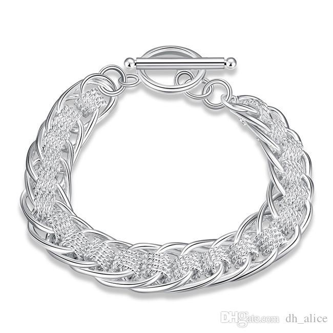 Nowa Bransoletka Bransoletka Sterling Posrebrzana; Ślubny prezent moda mężczyźni i kobiety 925 bransoletka srebrna SPB059