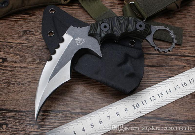 MIKER Kitchen knife Karambit CS GO Counter Strike Knives D2 Survival knife fixed balde Hunting Knife tops tactical gear sharp Camping Tools