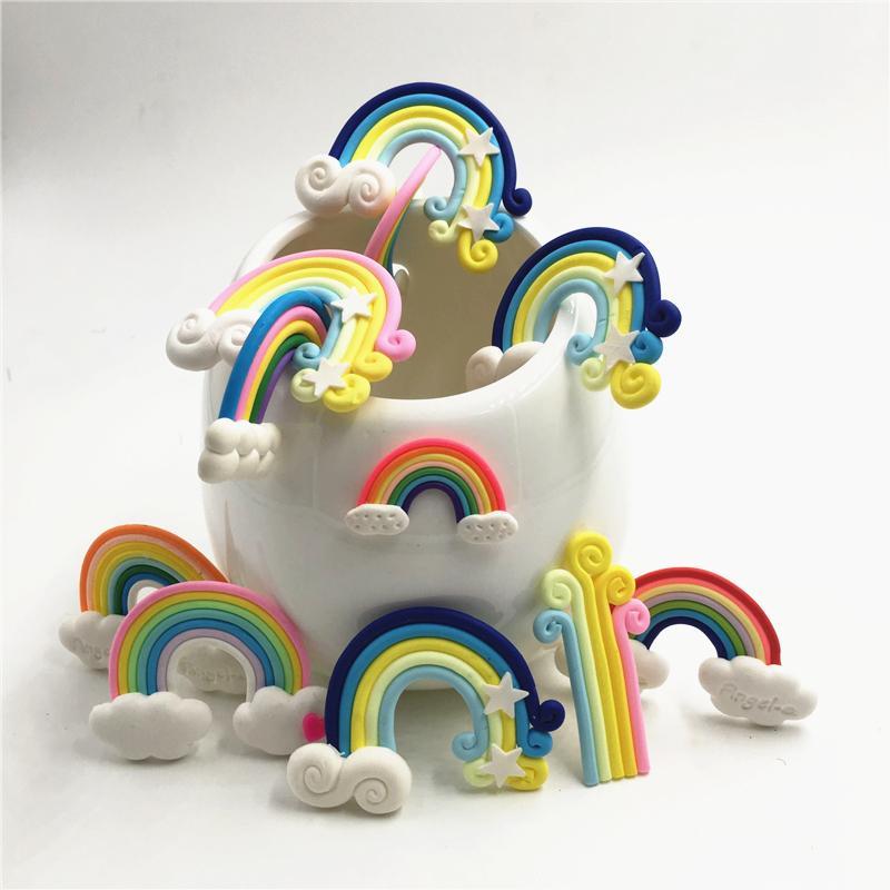 جميلة rainbow الغيوم كب كيك توبر كعكة أعلام عيد الميلاد حفل زفاف حلويات الخبز الديكور لوازم 20 قطعة / المجموعة