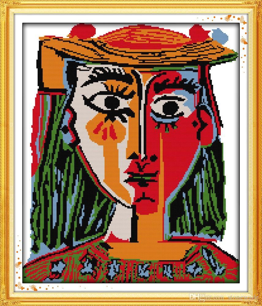 Picasso Nosić kapelusz kobiecych obrazów wystroju, handmade Cross Stitch Hafty Robótki Zestawy Liczono drukowanie na płótnie DMC 14CT / 11CT