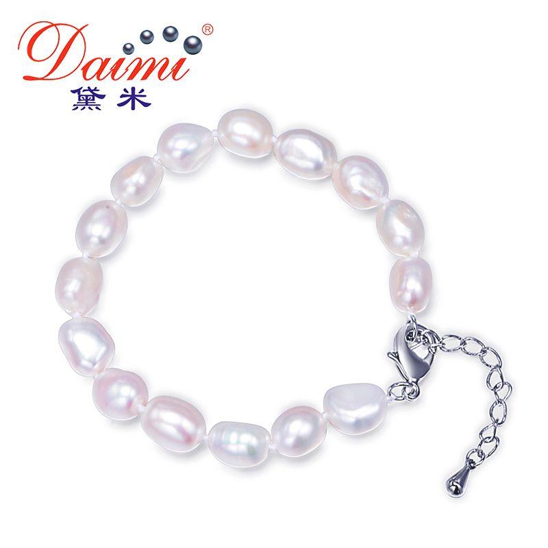 Wholesale 10 X Handmade real freshwater pearl bracelets white/&black 21-22cm