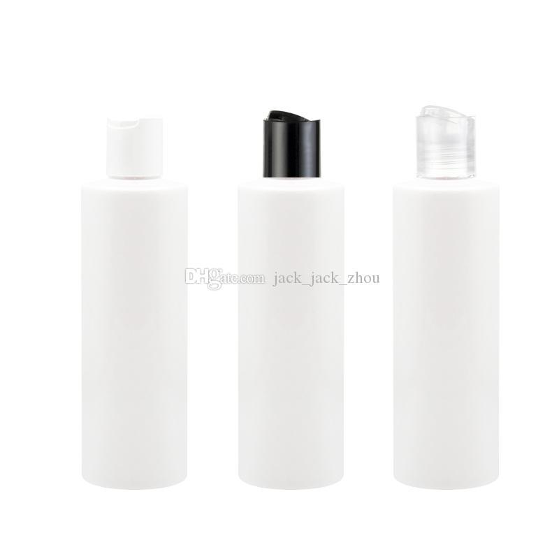 40 pçs / lote 250 ml branco Disco tampa do disco tampa da loção garrafa Vazio Frascos de Perfume de Viagem Disco cap Shampoo PET Recarregável Garrafa de gel de banho garrafa