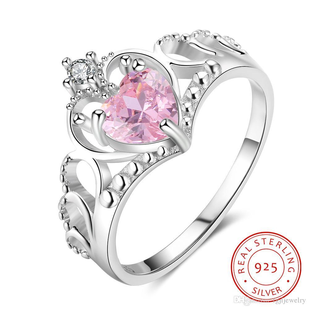 Corona Princesa Plata Anillo de Diamantes de Imitación Amor Corazón para Mujer Chicas Reina Tiara Regalo!