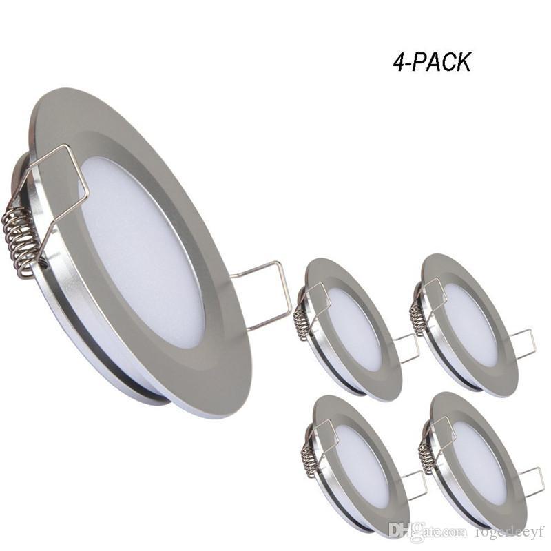 Clip del pannello Topoch LED Downlight 4-Pack Super Slim Primavera Monte DC12V 3W 240LM Nichel Versione alluminio bianco Colore Argento per House Boat RV