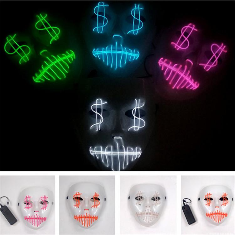LED Halloween Ghost Masks Masquerade Full Face Masks The Purge Movie Wire Glowing Mask Costumes Party mask Gift 9 Colors 50pcs T1I990
