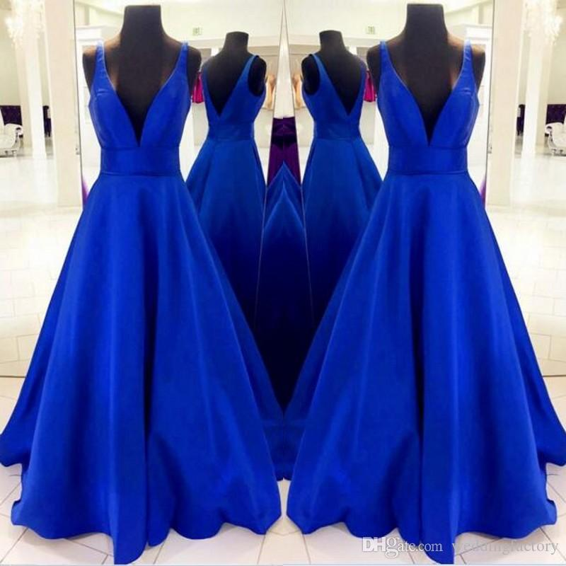 Simple Elegant Prom Dresses Long Deep V Neck Plunging Sleeveless Open Back Blue Formal Dress Evening Party Gowns Custom Made High Quality
