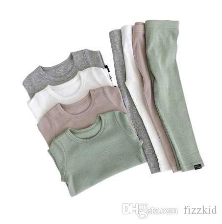 Новая мода девочка пижамы для детей мальчиков Детская одежда осень зима малыш набор розовый мягкие удобные с длинным рукавом