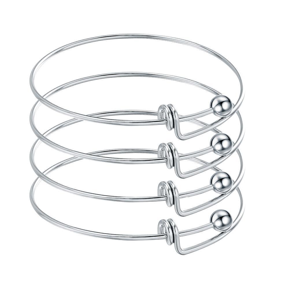 10pcs acier inoxydable blanc réglable Bracelets fil extensible Bangles pour le bricolage Charm Bracelet Bijoux