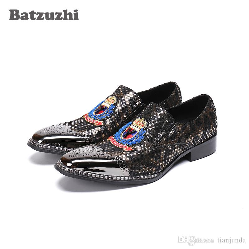 Italian Type Luxury Men's Dress Shoes Pointed Toe Genuine Leather Shoes Men Business an Party Footwear Handmade, EU38-46, US6-12
