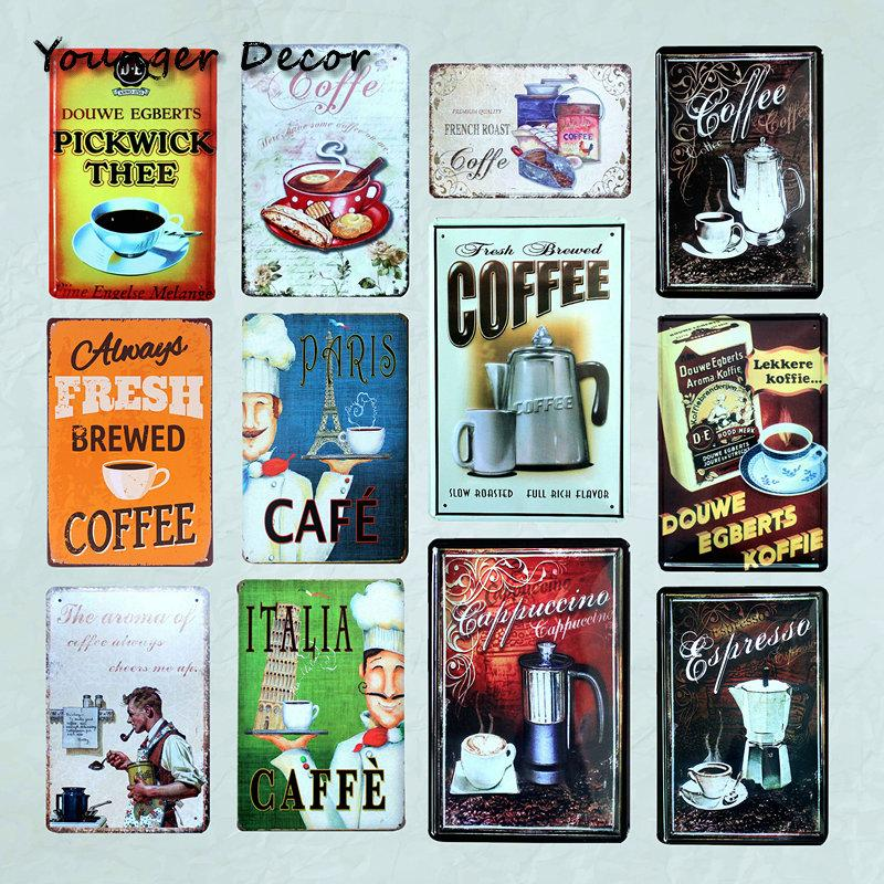 Paris Cafe Italia Caffe Metal Signs Bar Pub Coffeehouse Wall Decor Vintage Home Decorative Cool Metal Poster Tin Plaque YA070
