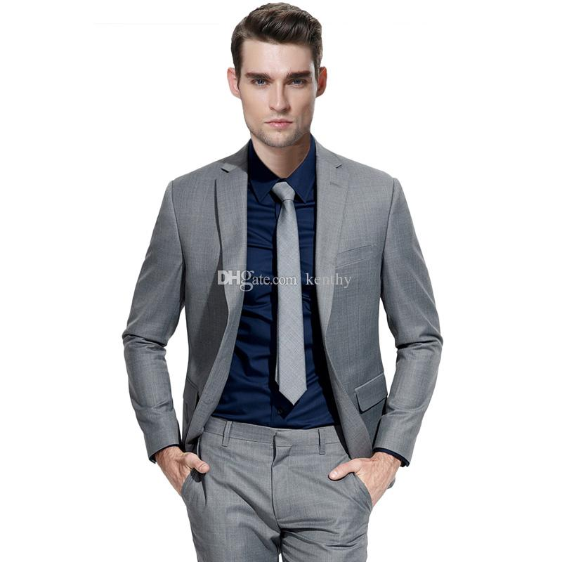 Custom Made Grey Men Suits for Wedding Beach Groom Tuxedos Smart Casual Slim Fit Best Man Blazers 2 Pieces Jacket Pants Costume Homme