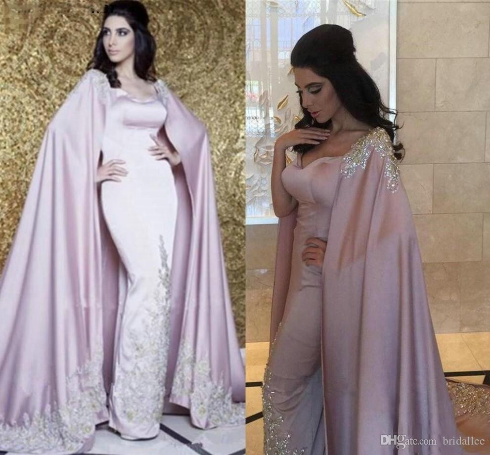Árabe Dubai Vestidos de Noite Com Cape Luxury Sparkle Lantejoulas Rendas Kaftan Abaya 2018 Prom Vestido Formal Vestido De Novia