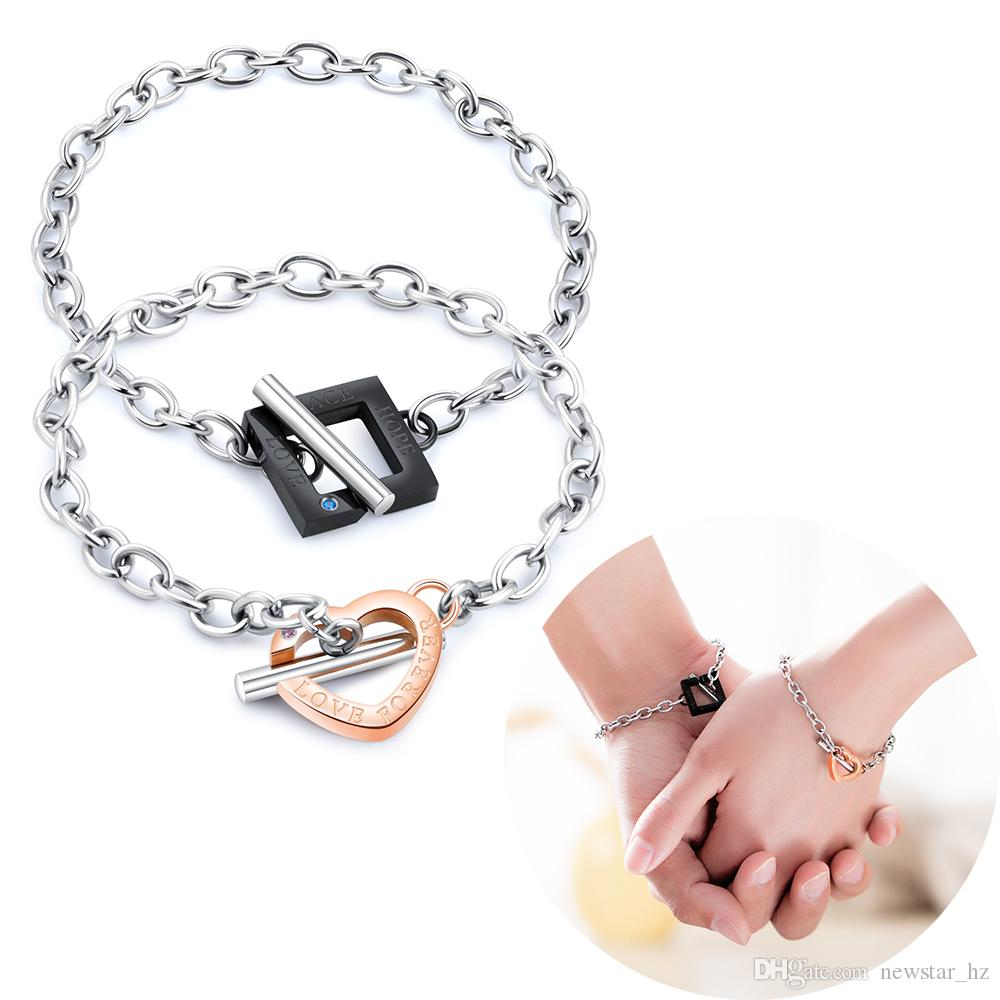 Couples Bracelets Stainless Steel Heart Shaped Charm Hand Chain Cuff Bangle Wristband Engagement Statement Jewelry Romantic Gift for Lovers