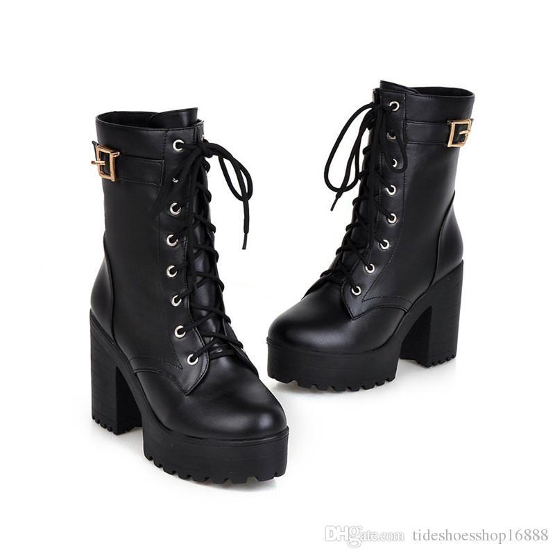 2018 Autumn Winter Women Ankle Boots thick Sole Heels Black Lace up Women Punk Boots Sexy Ladies Boots Shoes Plus Size