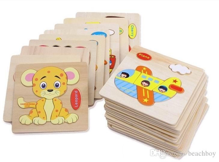 아기 학습 3D 나무 퍼즐 교육 완구 아이 우드 지그 소 퍼즐 공예 동물 무료 배송