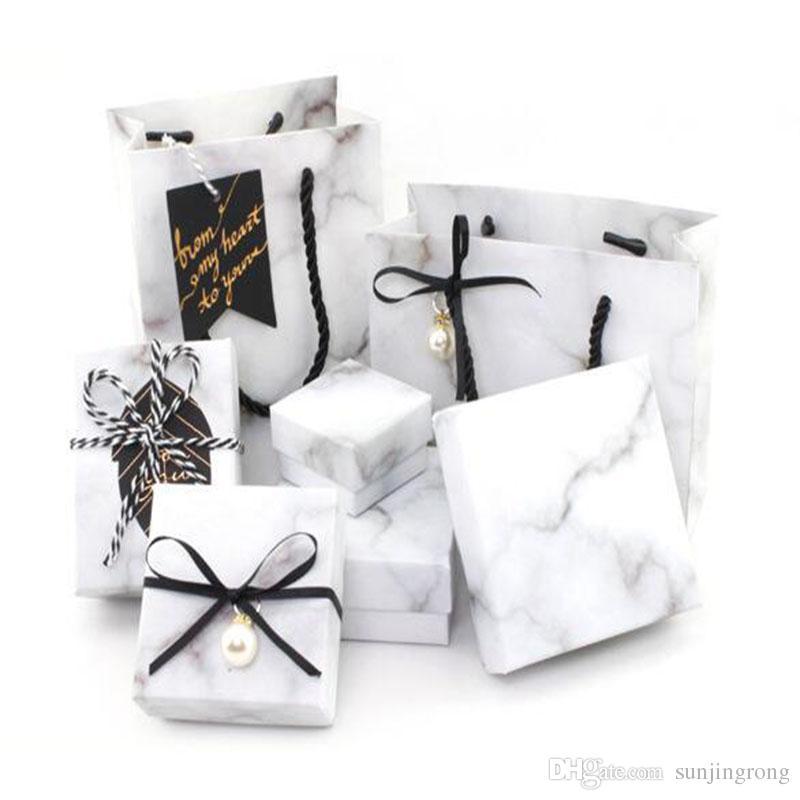 الرخام الأبيض نمط واحد طبقات خاتم الخطوبة مربع التخزين للمجوهرات قلادة حامل أكياس المجوهرات مربع هدية لعيد الحب