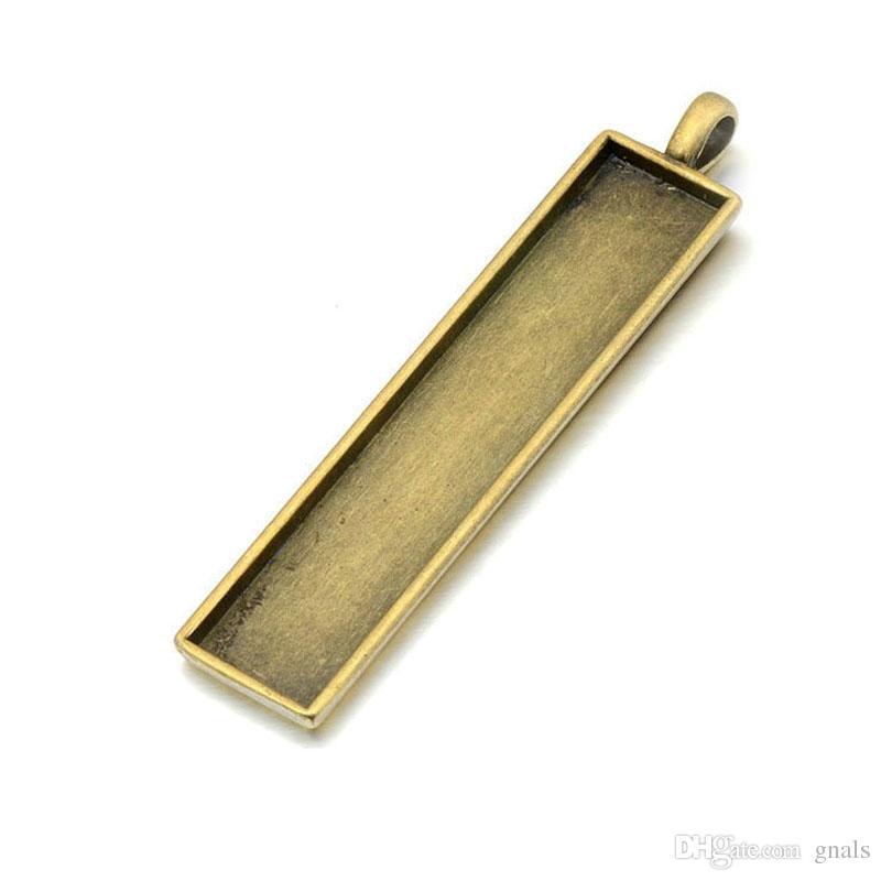 10 * 50 MM Rectángulo llavero placa base para el número de licencia del coche DIY Llaveros Antique Bronz / Silver Plated 100Pcs