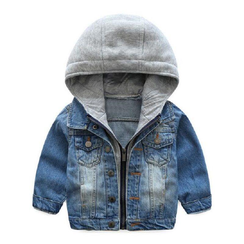 2018 Kids Denim Jacket Boys Jean Coat Clothing Fashion Causal Girls Cardigan Children Outerwear Cowboy Toddler Hooded 2-10yrs Y1891203