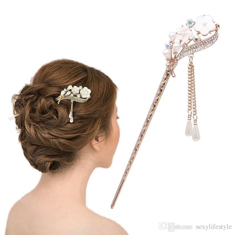 Frauen Elegant Abgeschieden Orchidee Bobby Pin Mode Haarnadel Strass Haar Stick