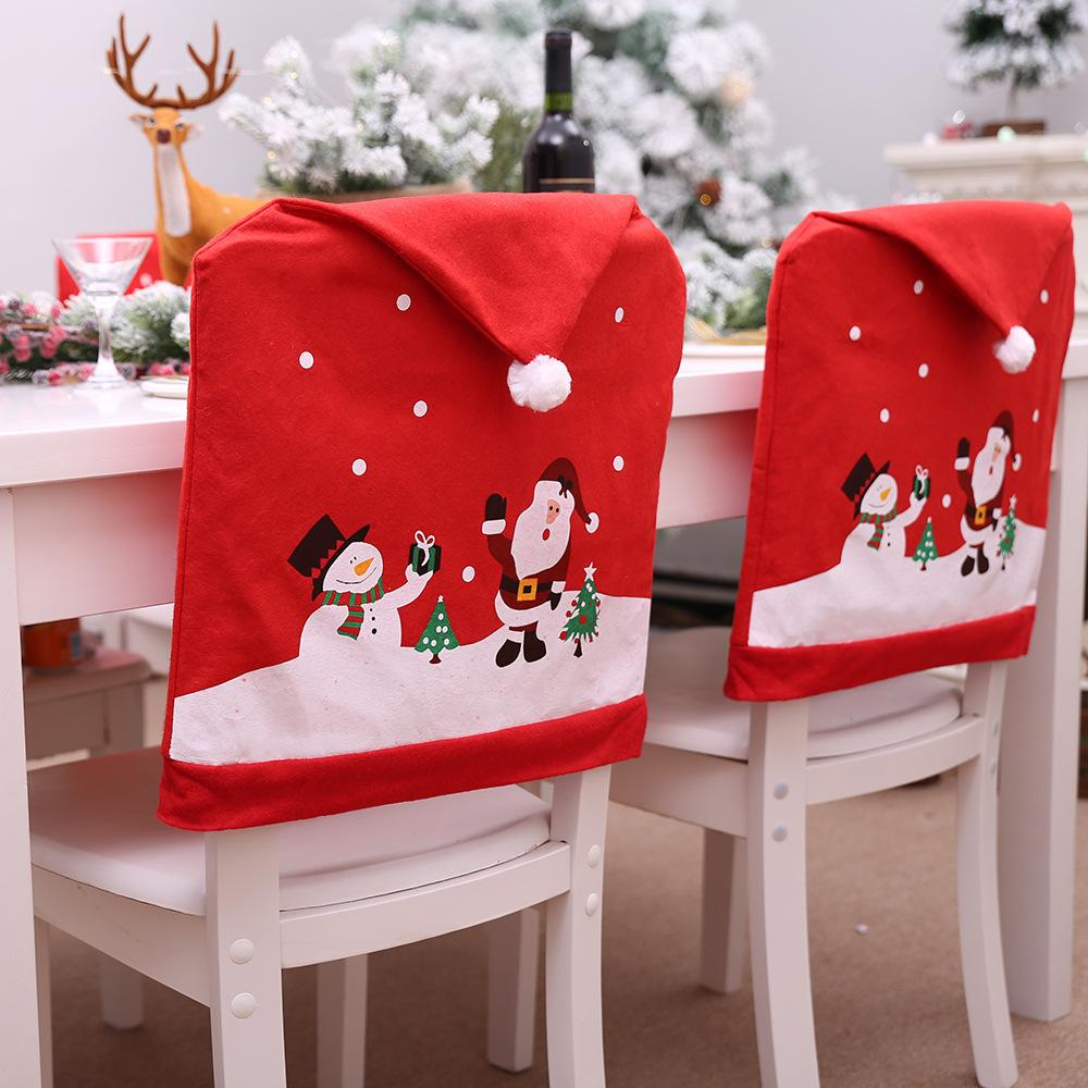New Red Christmas Hat Non-woven Chair Cover Cartoon Snowman Santa Claus Dining Chair Decoration Sleeve New Year Party Decorations
