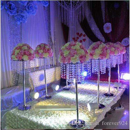 """Бесплатная доставка акриловый Кристалл свадьба дорога приводит 32"""" высокий 14 """" диаметр, свадебный цветок украшение стола центральные"""