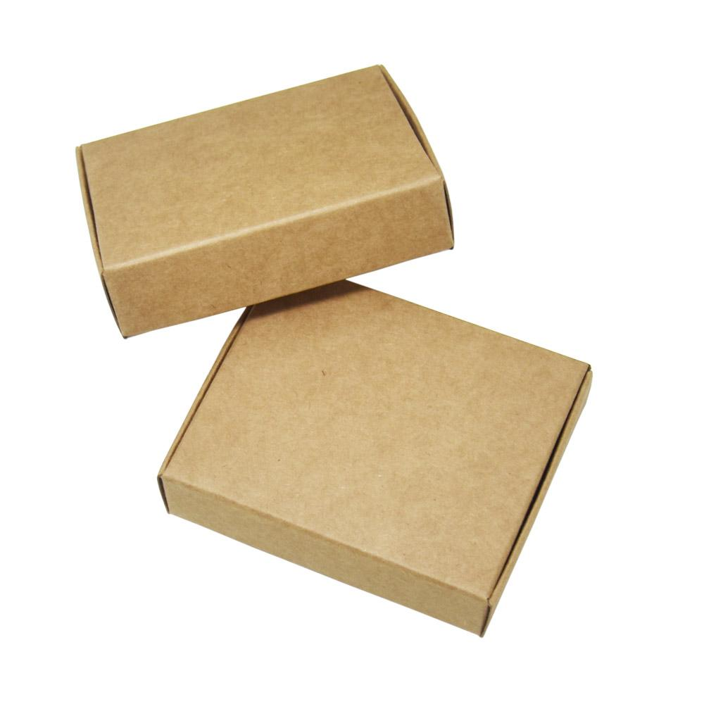 50 Pcs 8.5*7*2cm Vintage Brown Small Paper Gift Box Christmas Party Favor Candy Craft Paperboard Package Boxes