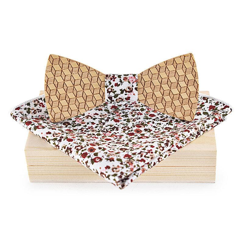 wholesale Floral Printed Wood Bow Tie Handkerchief Set for Mens Suit Hollow Wooden Bowtie for Mens Wedding Papillon Corbatas