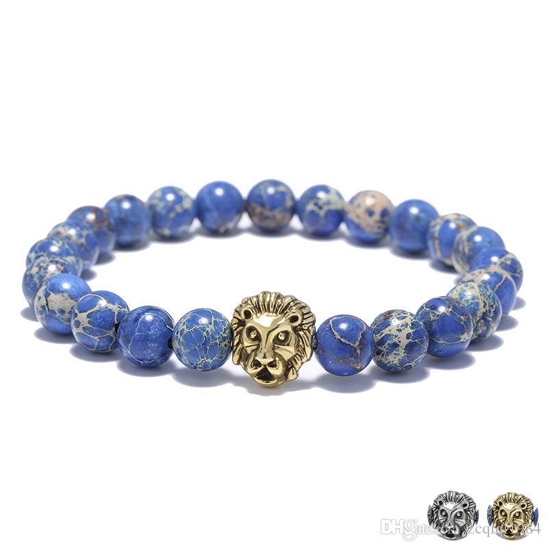 أزياء رجالية الأساور 8MM الإمبراطور الأزرق ستون أساور الخرز الأزرق الذهب والفضة مطلي سوار الأسد رئيس تجديل الأساور