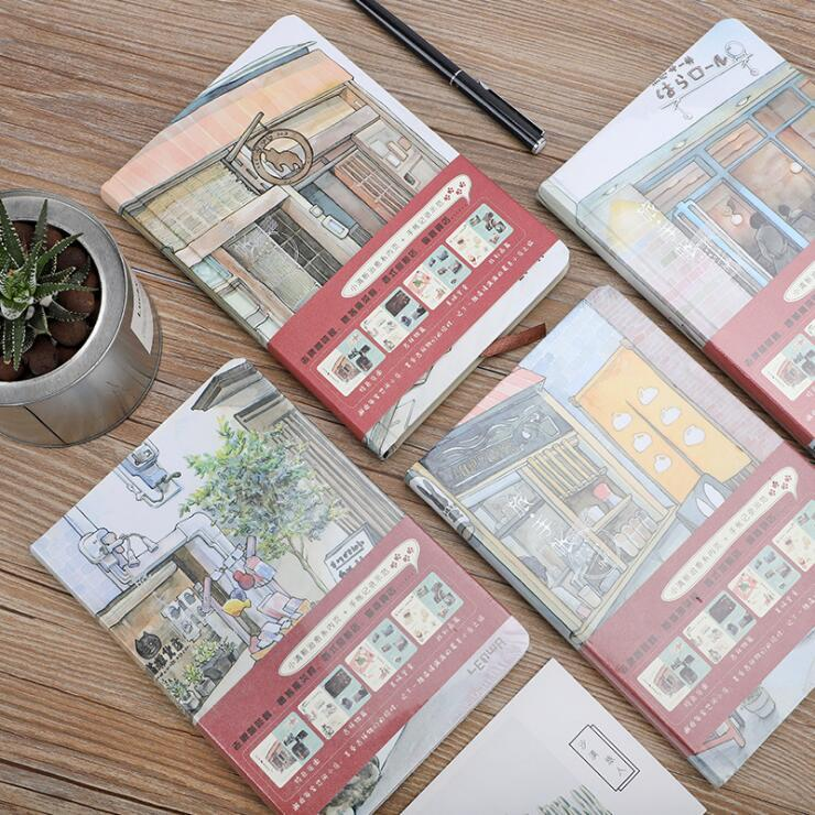 Dilosbu Travel Notepad اللون داخل الصفحة رسمت باليد غلاف دفتر اليوميات A5 2018 مخطط مجلة اللوازم المدرسية