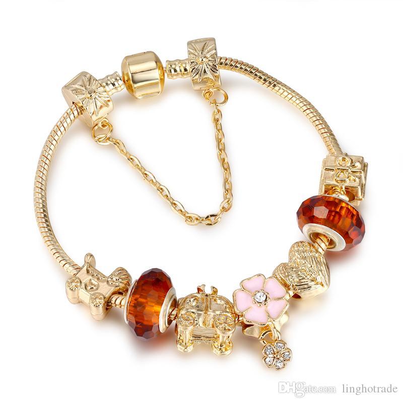 الأزياء والمجوهرات 18 كيلو الذهب مطلي diy المرأة سحر سوار عصري كبير كريستال الخرز النحاس الإسورة الأساور للنساء