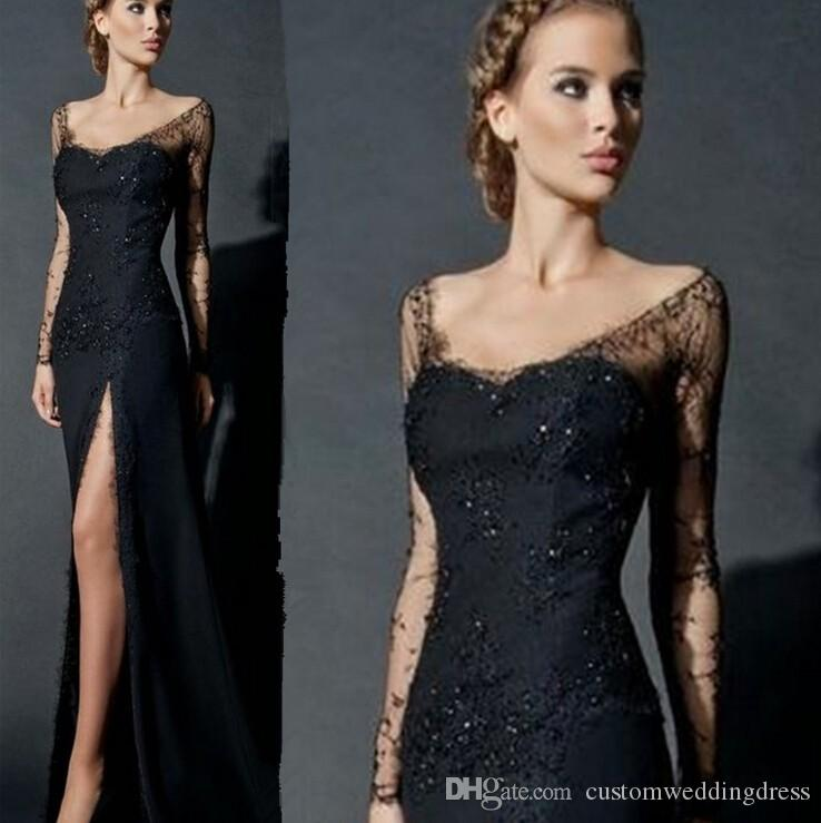 Sexy Long Sleeves Deep V-Neck Black Sheath High-Slit Evening Dress For Women Formal Gown Lace Evening Gowns