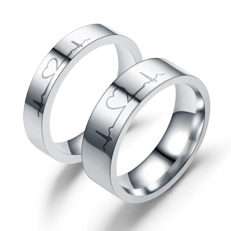 Европа и Америка мода новый трансграничный ЭКГ кольцо полукруг любовь пара бросить завод прямых продаж 6 мм в ширину и 4 мм пара кольцо