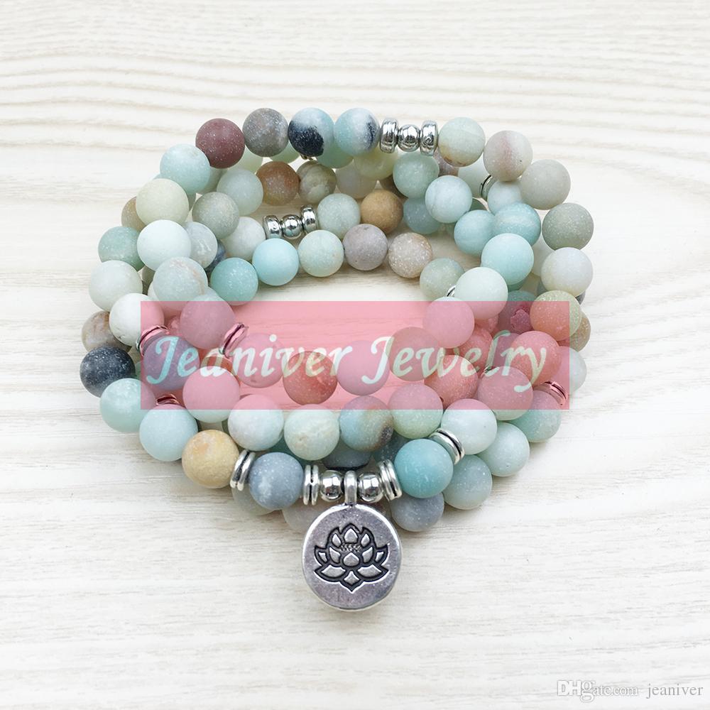 La mode des femmes 8 mm mat Amazonite 108 Mala Perles Bracelet ou Collier Lotus Bouddha Ohm Charme Bracelet Livraison Gratuite NS1142