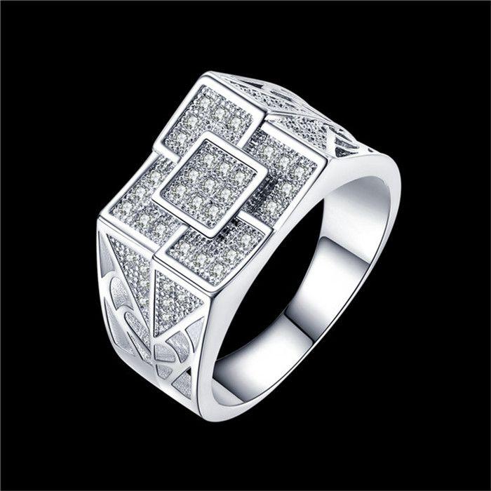 Anillo Global Hot Silver para hombre con Zircon Talla 9 # 10 # 11 # bisutería