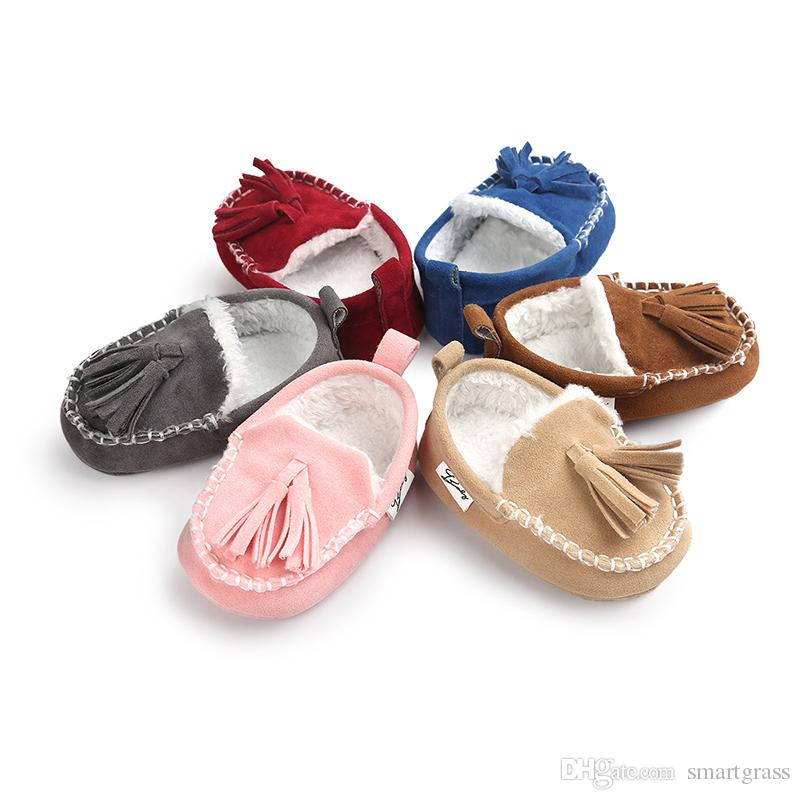 Baby Winter Shoes Wholesales Baby Girls Boys Safety 1st Walker Tassels Fleece Inner Baby Soft Sole Shoes 18052802