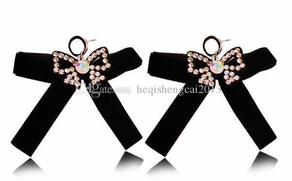 Livraison gratuite vente Corée style boucle d'oreille noir bowknot boucle d'oreille bande à ongles diamant bijoux mode classique élégance exquise