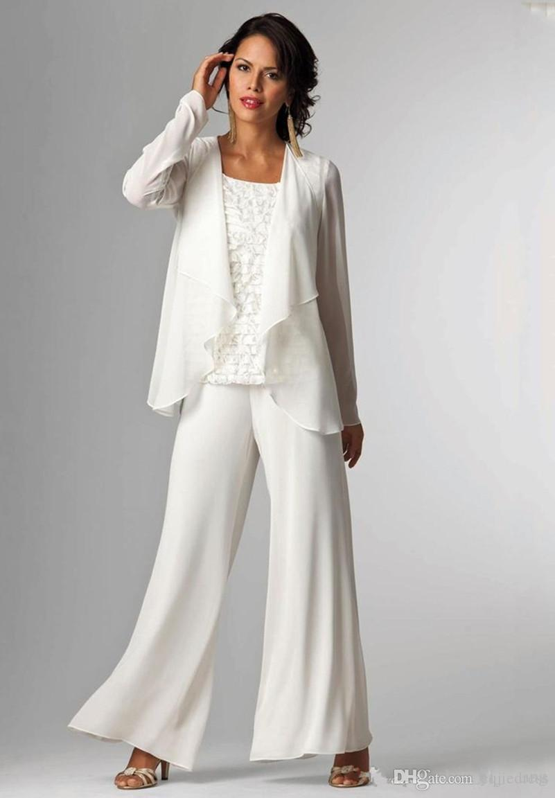 2018 Chiffon Mothers of the Bride Suits Plus Size Pants Scoop Neckline Long Sleeves Ruffles Three Pieces Mother of the Bride Dresses Gowns