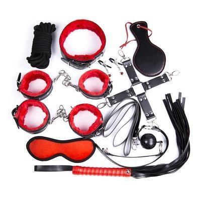 Gelugee 10 Stück BDSM Bondage Restraint Kit Set Leder Sexspielzeug für Paare Flirt Adult Slave Game Sex Produkt Y18100702