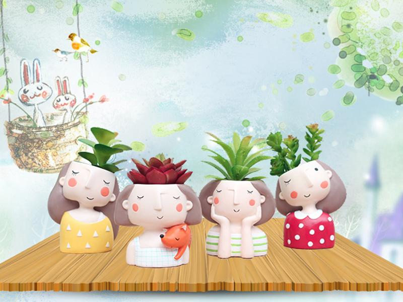 cute girl plant pot