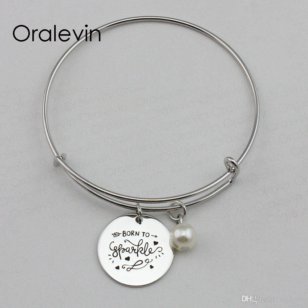 Родился, чтобы искриться вдохновляющие ручной штамповкой выгравированы кулон расширяемые проволочный браслет для женщин подарок ювелирных изделий, 10 шт./лот, #LN2191B