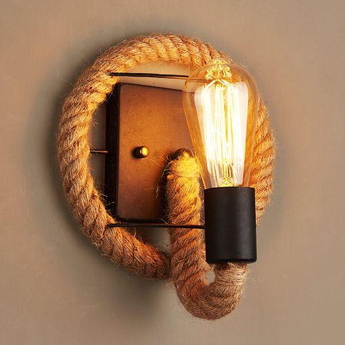 Loft estilo americano retro vintage llevó lámparas de pared para balcón pasillo lámpara de pared creativo industrial viento interior cáñamo cuerda iluminación de pared