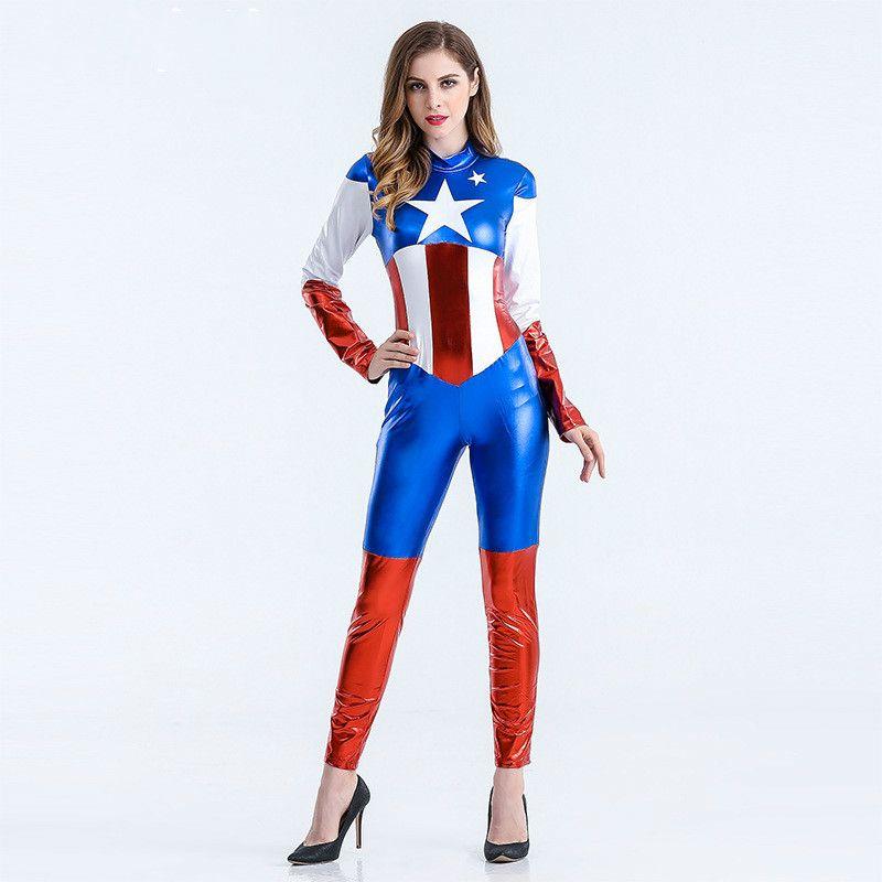 Captain America Costume Superhero Cosplay Women Halloween Tights Jumpsuit