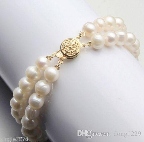 "Genuine New 2Row 7-8mm bianco Akoya coltivate perla braccialetto Bang 7.5 """